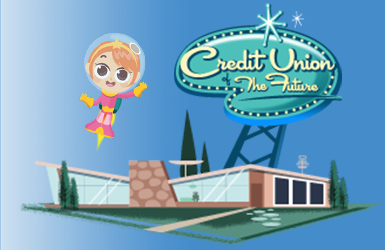 cartoon girl in space suit with futuristic credit union