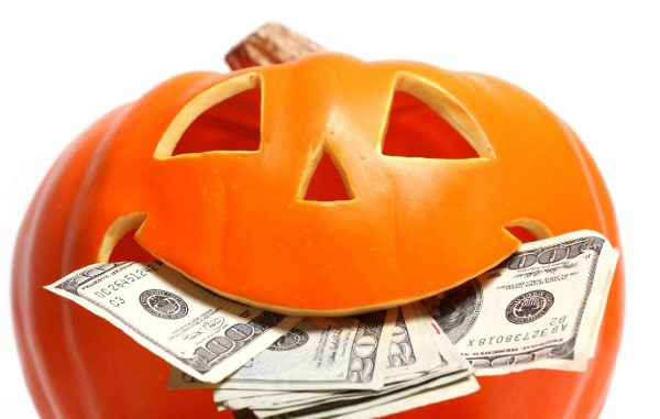 jack-o-lantern with money in mouth