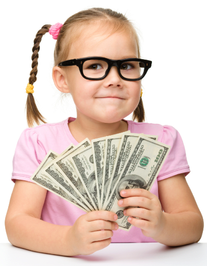 little girl holding money smiling