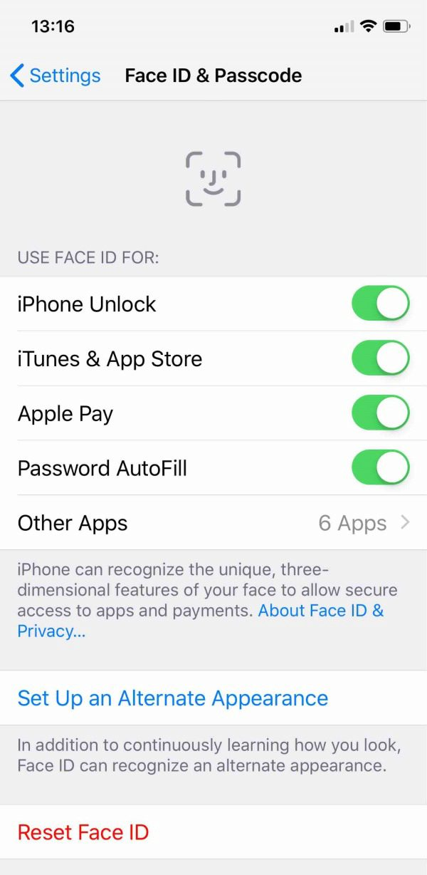 screenshot of iphone face ID