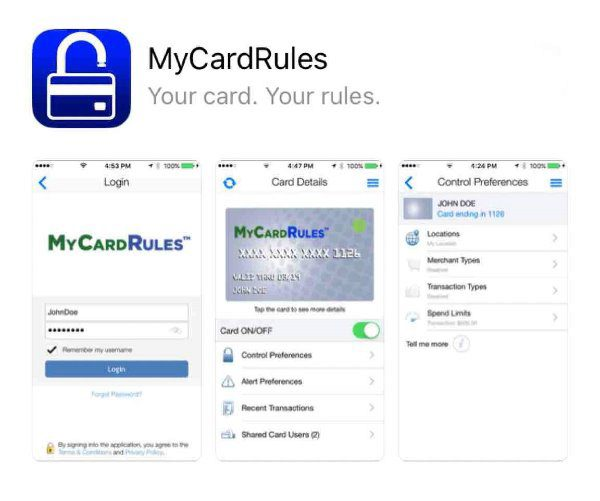 screenshots of the my card rules app when opened